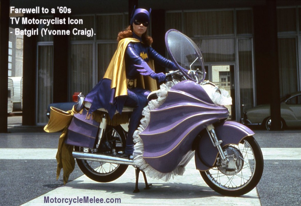 Farewell Batgirl - Yvonne Craig - on her iconic '60s TV purple motorcycle