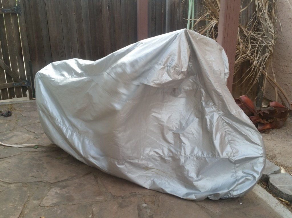 Platinum Shield Motorcycle Cover from CarCovers.com on a 2014 Triumph Thruxton
