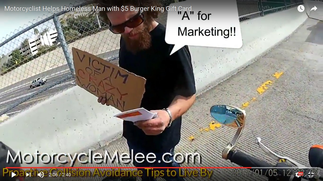 Motorcyclist Helps Homeless Man with $5 Burger King Gift Card